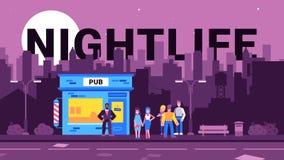 Kleurrijke illustratie van nachtleven in de stad vector illustratie