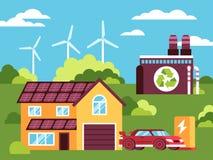 Kleurrijke illustratie van schoon en groen milieu royalty-vrije illustratie