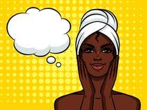 Kleurrijke illustratie van vrij Afrikaans Amerikaans meisje met handdoek op haar hoofd stock illustratie