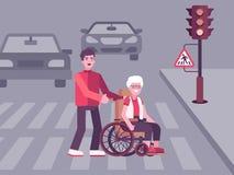 Kleurrijke illustratie waarop een jonge man een oude vrouw helpt vector illustratie