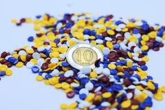 Kleurrijke industriële plastic korrels Stock Foto's