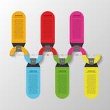 Kleurrijke Infographics-chronologievector met banners Royalty-vrije Stock Afbeeldingen