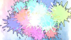 Kleurrijke inktdaling in water Dalende kleurrijke inkt in water met gekleurde achtergrond stock illustratie