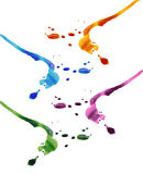 Kleurrijke inktdalingen stock afbeeldingen