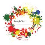 Kleurrijke inktplonsen op wit Stock Fotografie