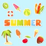 Kleurrijke inzameling van de leuke illustraties van het de zomerthema Stock Foto's