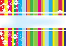 Kleurrijke kaart met lijnen en bloemen Stock Afbeeldingen