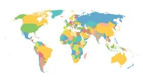 Kleurrijke kaart van de wereld Stock Fotografie