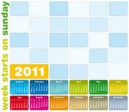 Kleurrijke Kalender 2011 royalty-vrije illustratie