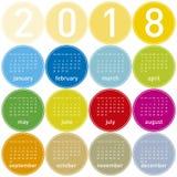 Kleurrijke Kalender voor Jaar 2018, in het Engels Stock Afbeeldingen