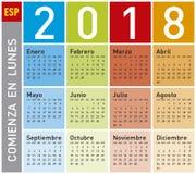 Kleurrijke Kalender voor Jaar 2018, in het Spaans Royalty-vrije Stock Afbeelding