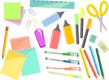 Kleurrijke kantoorbehoeftenreeks, punten voor school en bureau stock illustratie