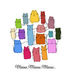 Kleurrijke katteninzameling, schets voor uw ontwerp Royalty-vrije Stock Afbeelding