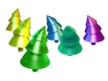 Kleurrijke Kerstbomen Stock Foto