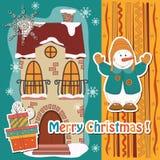 Kleurrijke Kerstkaart. royalty-vrije illustratie