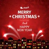 Kleurrijke Kerstkaart en Nieuwjaargroeten vectorillustratie Royalty-vrije Stock Afbeelding