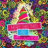 Kleurrijke Kerstkaart en Nieuwjaargroetenillustratie Royalty-vrije Stock Fotografie