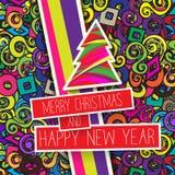 Kleurrijke Kerstkaart en Nieuwjaargroetenillustratie Royalty-vrije Stock Foto's