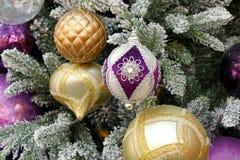 Kleurrijke Kerstmisornamenten die van sneeuw behandelde boom hangen Stock Foto's