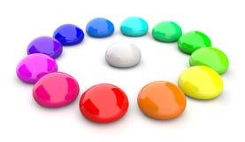 Kleurrijke kiezelstenen in cirkel Stock Afbeelding