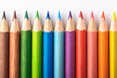 Kleurrijke Kleurpotloden Stock Fotografie