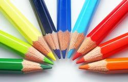 Kleurrijke Kleurpotloden - Close-up Stock Foto's