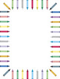 Kleurrijke kleurpotloodgrens   Stock Fotografie