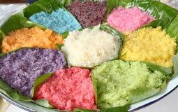 Kleurrijke Kleverige Rijst, Voorgerecht van Thailand Royalty-vrije Stock Afbeeldingen
