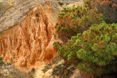 Kleurrijke klippen in Portugal Stock Afbeeldingen