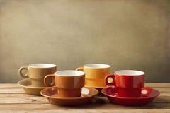 Kleurrijke koffiekoppen Stock Foto