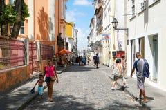 Kleurrijke koloniale huizen bij het historische district van Pelourinho Salvadore, Bahia, Brazilië stock foto's