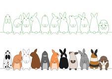 Kleurrijke konijnen op een rij Stock Foto's