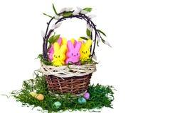 Kleurrijke konijntjes in mand Royalty-vrije Stock Foto
