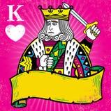Kleurrijke Koning van Harten met bannerillustratie Stock Fotografie