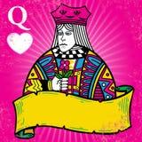 Kleurrijke Koningin van Harten met bannerillustratie Stock Afbeelding
