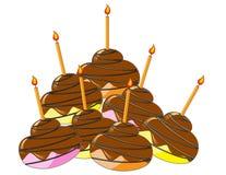 Kleurrijke kopcakes met chocoladeverglazing en ca Royalty-vrije Illustratie