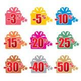 Kleurrijke kortingselementen Kortingenmalplaatje Royalty-vrije Stock Afbeeldingen