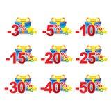 Kleurrijke kortingselementen Kortingenmalplaatje Royalty-vrije Stock Foto