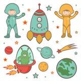 Kleurrijke kosmische ruimteinzameling stock illustratie