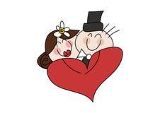 Het gelukkige paar van het beeldverhaalhuwelijk Royalty-vrije Stock Foto