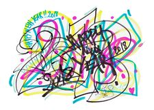2018 Kleurrijke Krabbel Graffity Stock Afbeelding