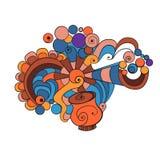 Kleurrijke krabbelkop van koffie Stock Foto