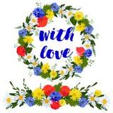 kleurrijke kroon en slinger van wilde die bloemen op een witte achtergrond met liefde worden geïsoleerd royalty-vrije illustratie