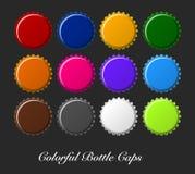 Kleurrijke kroonkurken, kroonkurkenvector Stock Foto