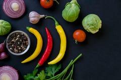 Kleurrijke kruiden in lepels en tomaten op donkere uitstekende achtergrond Hoogste mening De ingrediënten van het voedsel en van  Stock Foto's