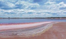 Kleurrijke lagen mineralen op de kustlijn van Meer Crossbie stock fotografie