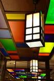 Kleurrijke lamp op plafond, Japanse stijl Royalty-vrije Stock Foto