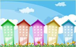 Kleurrijke lange gebouwen stock illustratie
