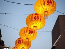 Kleurrijke Lantaarns in de Stad van China stock afbeelding
