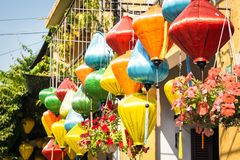 Kleurrijke lantaarns in Hoi An Stock Foto